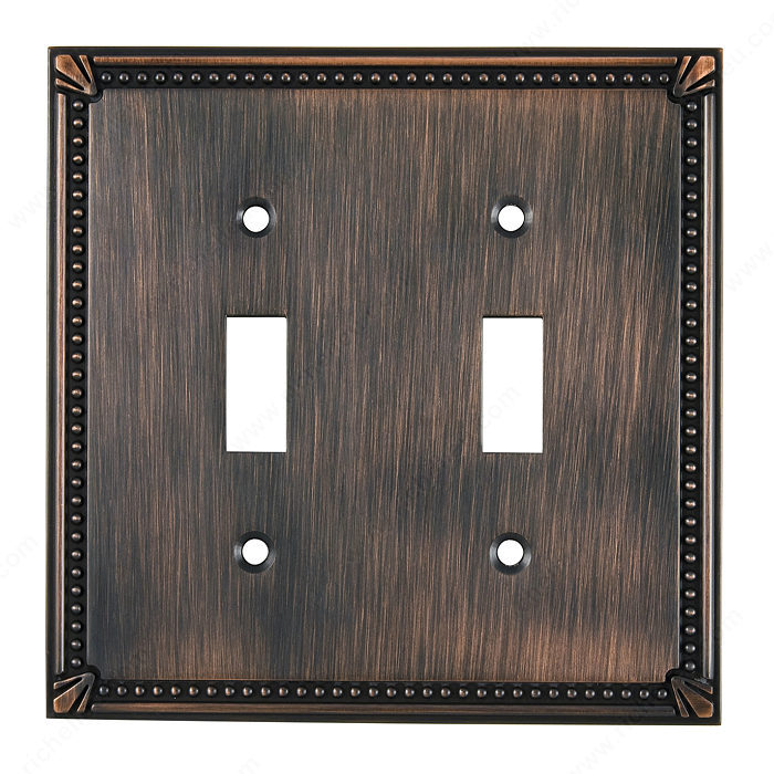 Switch Plate 2 Toggle Entries - Traditional Style-1