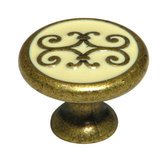 Traditional Brass and Enamel Knob - 341